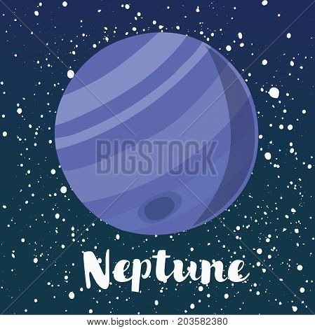 Vector cartoon illustration of Neptune is the eighth planet Solar System. Dark sky space star background and hand drawn lettering name