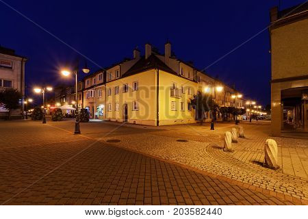 Rynek square in Zory after sunset. Poland Europe.