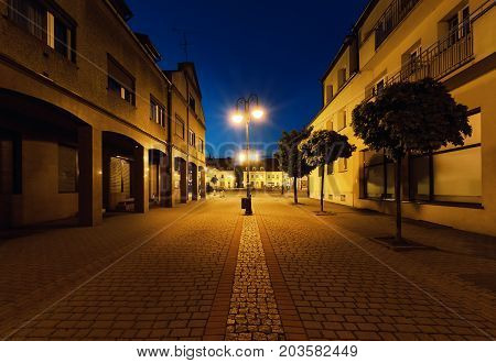 Street in Zory in the evening. Poland Europe.