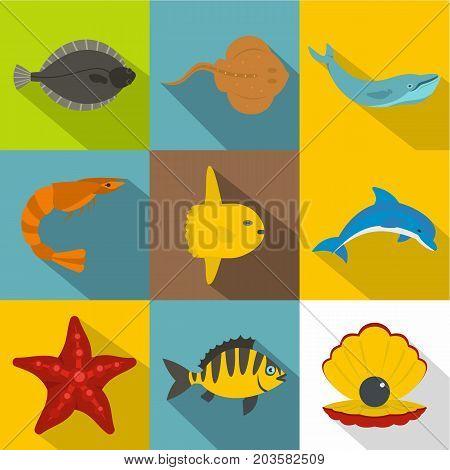 Underwater animal icon set. Flat style set of 9 underwater animal vector icons for web design