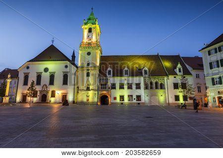 BRATISLAVA, SLOVAKIA - AUGUST 10, 2017: The old town hall in the main square of the old town in Bratislava, Slovakia on August 10, 2017.