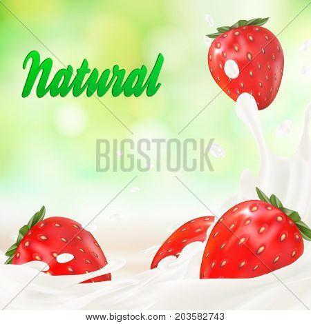 Milk ad or 3d strawberry yogurt flavour promotion. milk splash with fruits isolated on white. instant oatmeal advertising, open field background, 3d illustration.