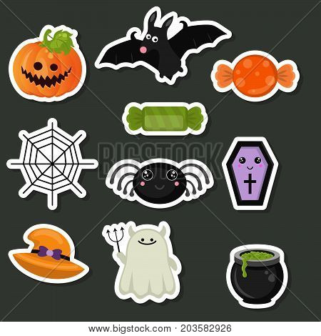 Halloween symbols collection. Happy Halloween. Collection of beautiful halloween stickers.