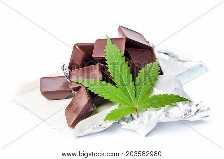 Marijuana Leaf With Chocolate Cubes