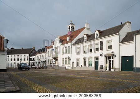 THORN NETHERLANDS - NOVEMBER 6 2016: Town square of the white painted village of Thorn in the southern part of the country