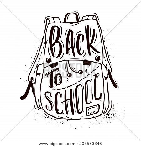 Back to school. School bag with hand-drawn lettering and ink splashes on white background. Vector illustration.