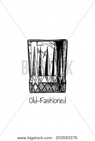 Illustration Of Tumbler Glass. Old-fashioned