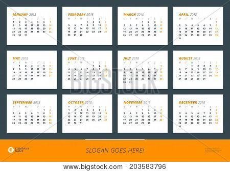 Wall calendar poster for 2018 year. Vector design print template. Landscape orientation. Week starts on Monday