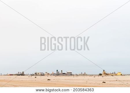 WLOTZKASBAKEN NAMIBIA - JUNE 29 2017: A view of Wlotzkasbaken a small holiday village in the Namib Desert between Henties Bay and Swakopmund on the Skeleton Coast of Namibia