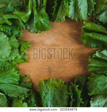 Vegetable Square Frame Background With Copy Space. Fresh Raw Letucce Flat Lay On Wooden Cutting Boar