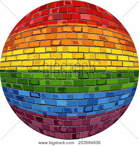 Gay pride Ball in brick style - Illustration
