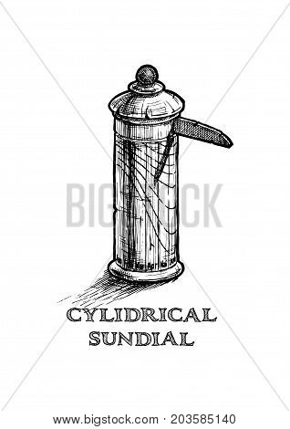 Illustration Of Cylindrical Sundial