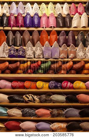 Traditional colorful shoes from a market in Marrakech, Morocco