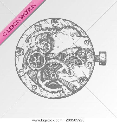 Vector ink hand drawn illustration of clockwork in vintage engraved style.