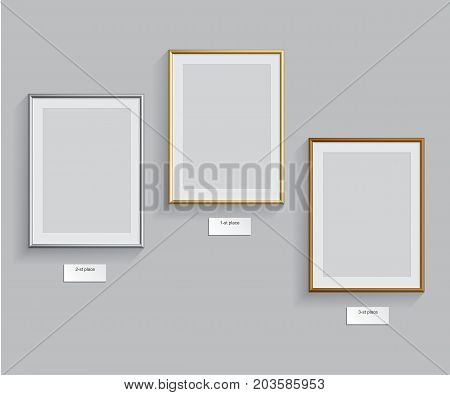 Podium frames. Golden, silver and bronze frames isolated on grey background. Vector illustration.