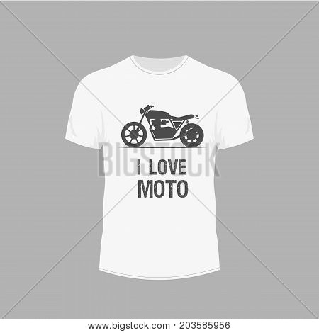 Men's white t-shirt with with a motorcycle image. Design for T-shirts. Motorcycles theme.