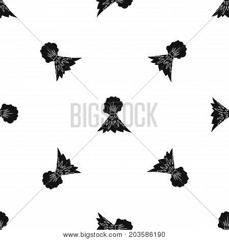Volcano erupting pattern repeat seamless in black color for any design. Vector geometric illustration