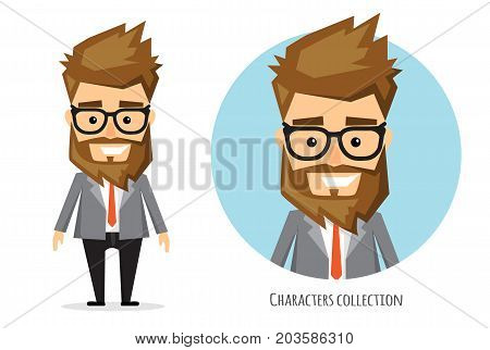 Full length portrait of Cartoon Hipster Businessman. Character for rigging and animation. Vector illustration in a flat style.