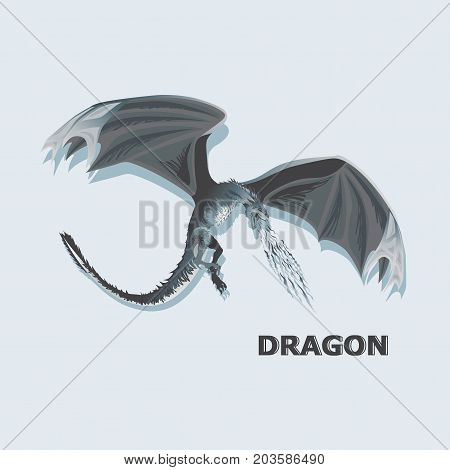 Attacking dragon. Mythical animal. Design for printing on paper or textiles.