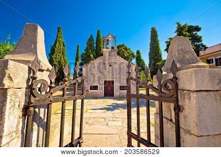 Ancient Village Of Sukosan Near Zadar Old Stone Chapel View