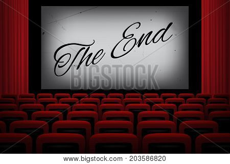 Movie theatre with THE END text on white screen, red curtains and chairs.