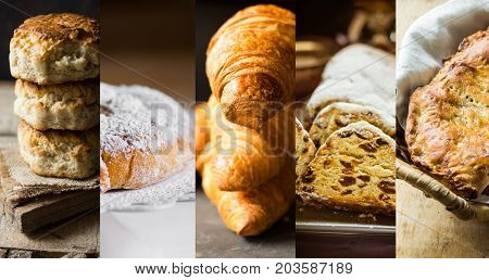 Collage set pastry of various kinds. Croissants Danish swirl ensaimada stollen scones apple pie calzone. Powdered with golden crust. High resolution banner size. Baking concept.