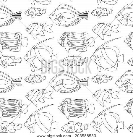 Outlined coral fishes seamless pattern tile. Tropical fish seamless pattern. Coloring paper swatch. Black and white coral fishes for coloring. Sea animals drawing. Aquarium fish seamless pattern