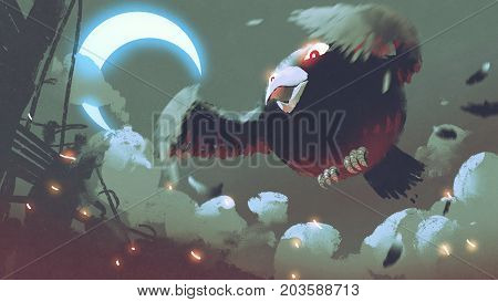 giant fat bird flying in the night sky with crescent moon, digital art, style illustration painting