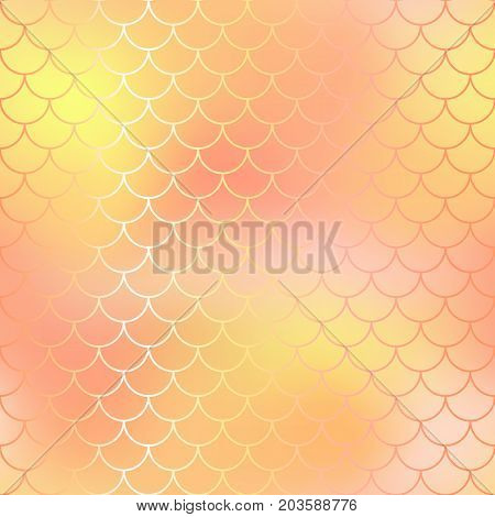 Fish scale pattern background. Gradient mesh vector texture. Blush pink and yellow fish skin background. Fantastic gold fish pattern. Mermaid vector pattern. Fish skin seamless pattern in golden color