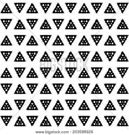 Black and white ethnic pattern. Abstract geometric vector seamless pattern. Black triangle on white background. Native indian seamless pattern tile. Trendy boho pattern swatch for textile or wallpaper