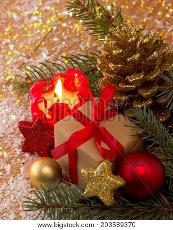 Christmas decoration with christmas bauble and candle for Advent . Christmas card .