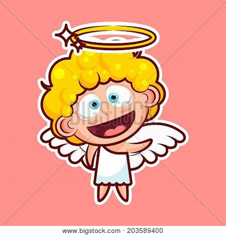 Sticker emoji emoticon, emotion, hi, hello waving his hand greeting vector illustration happy character sweet divine entity, cute heavenly angel, saint spirit, angel wings, radiant halo for mobile app poster