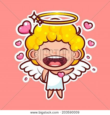 Sticker emoji emoticon, emotion, vector isolated illustration happy enamored character sweet divine entity, cute heavenly angel, saint spirit, wings radiant halo in love pink background for mobile app