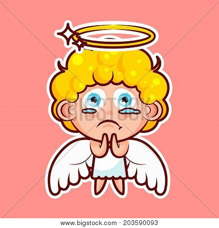 Sticker emoji emoticon, emotion beg, ask, pray, tears in eyes, vector illustration character sweet divine entity, heavenly angel, saint spirit, angel wings, radiant halo pink background for mobile app