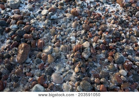 icy stones by the sea close up