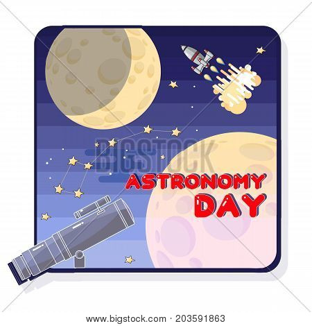 Astronomy Day.  Cartoon  telescope, Space rocket and moon. Astronomy greeting card. Celestial Vector illustration.