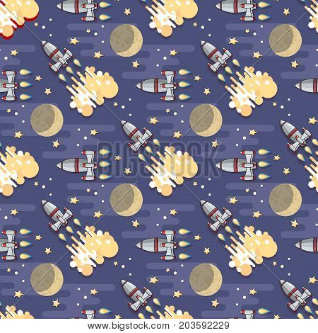 Cute Cartoon  Space rocket, star, planet and moon on blue background. Vector celestial seamless pattern.