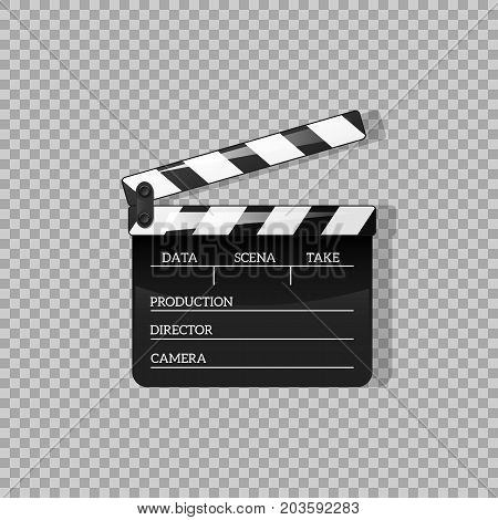 Black clap open black object element for movie making vector illustration Flat in style. Symbol Icon on films for your projects.
