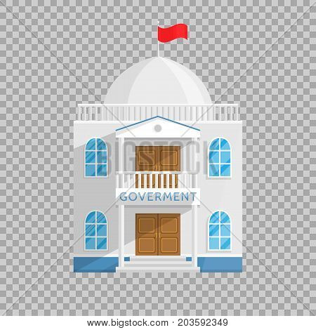 Government building in Flat style isolated on transparent background Vector Illustration. Senate Government House and other agencies managing their own country city Illustration for your projects.