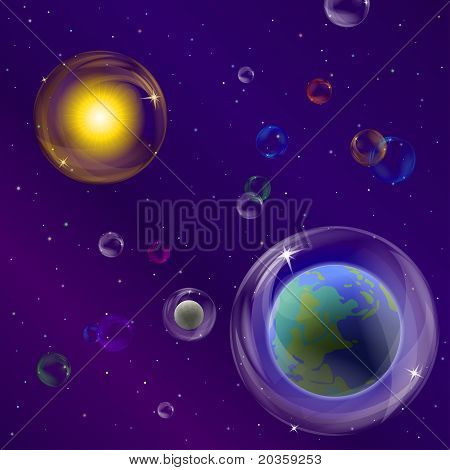 Planets and sun in bubbles