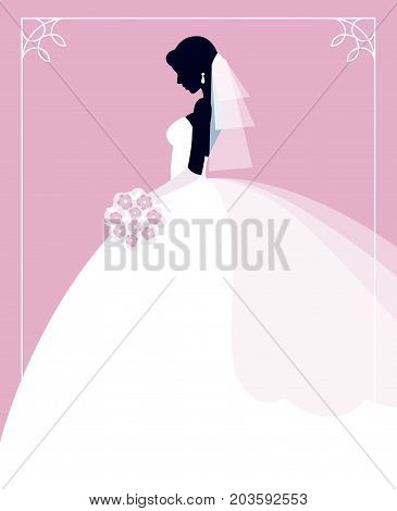 Profile of the bride in a wedding dress with a bouquet of flowers in her hands Stock vector illustration