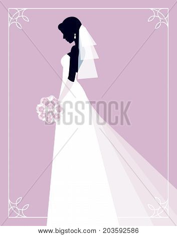 Invitation for a show of brides. Silhouette of a bride on a pink background profile in her wedding dress and veil with a bouquet in his hand. Stock Vector Graphics.