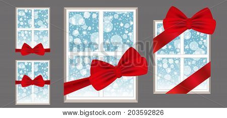 Windows with red ribbon and bow as a gift with a winter view. Set illustrations. Vector.