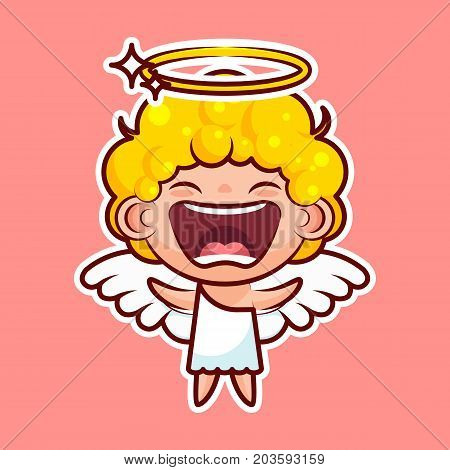 Sticker emoji emoticon, emotion joy, shouting vector isolated illustration happy character sweet divine entity, cute heavenly angel, saint spirit, wings, radiant halo on pink background for mobile app poster