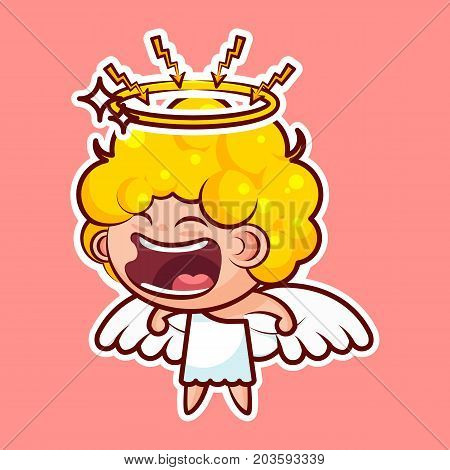 Sticker emoji emoticon emotion, scream with rage, lightning vector isolated illustration character sweet divine entity, heavenly angel, saint spirit, wings, radiant halo pink background for mobile app