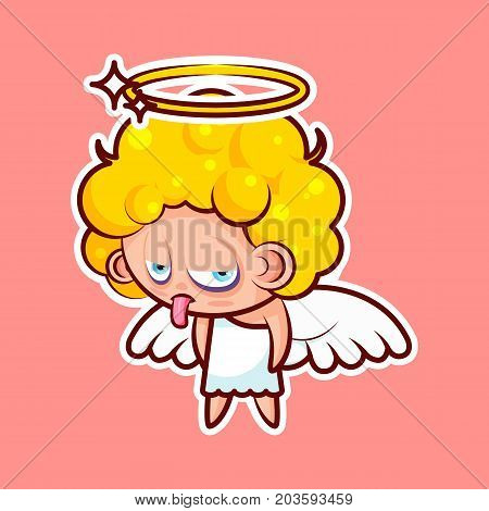 Sticker emoji emoticon emotion show tongue with sour face vector isolated illustration character unhappy divine entity, heavenly angel, saint spirit, wings, radiant halo pink background for mobile app poster