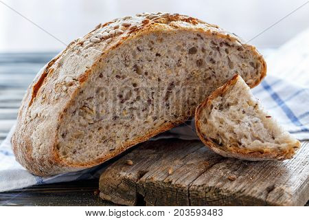 Bread With Seeds Of Flax, Sunflower, Sesame And Pumpkin.