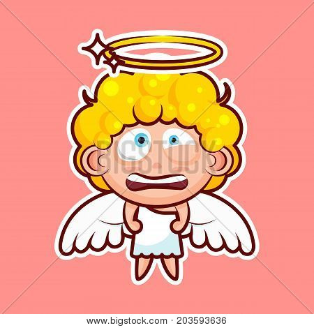 Sticker emoji emoticon, emotion nervous, tense, twitching eyes vector isolated illustration character divine entity, heavenly angel, saint spirit, wings, radiant halo on pink background for mobile app