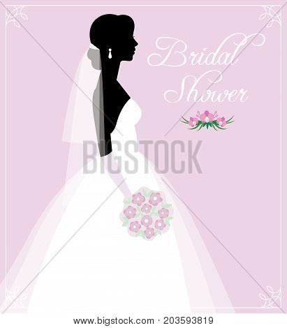 Silhouette Of A Young Bride In A Wedding Dress With A Bouquet In Hands