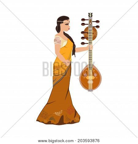 Vector illustration of young beautiful indian girl in traditional dress sari with saraswati veena musical instrument. Flat style design.